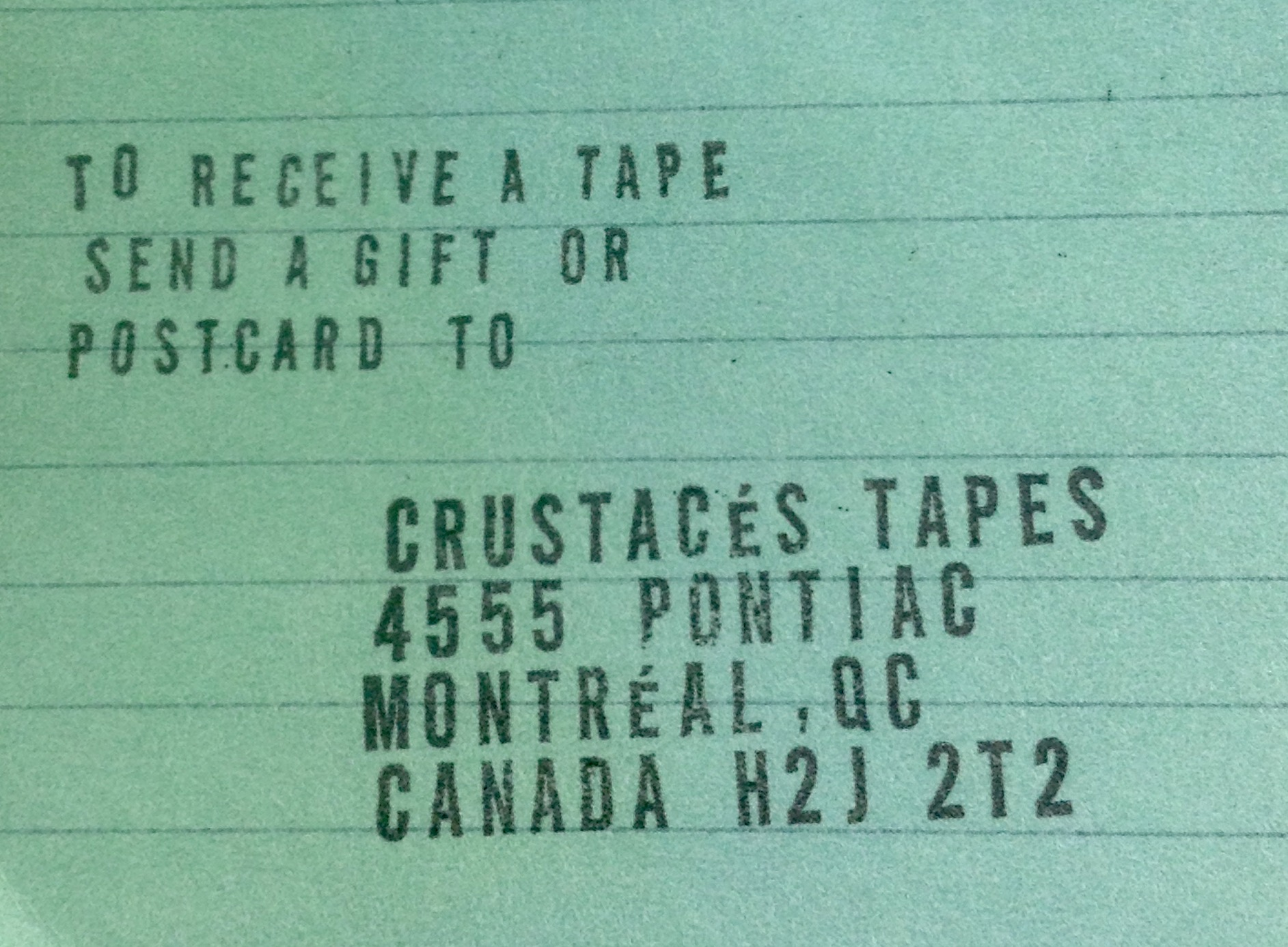 crustacés tape postal address