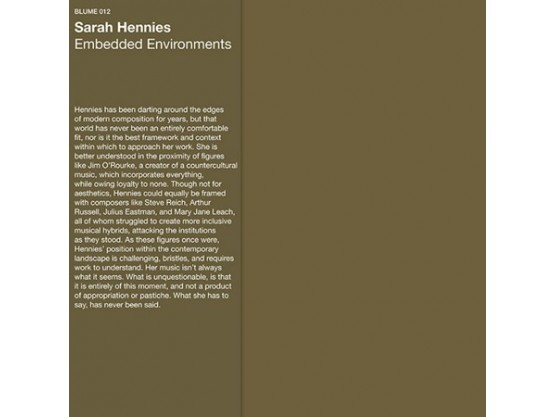"Sarah Hennies ""Embedded Environments"" cover"
