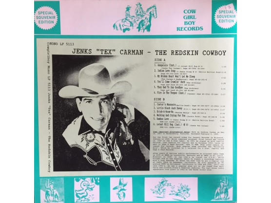 "Jenks ""Tex"" Carman ""The Redskin Cowboy"" Cov"